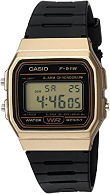 Casio Hombre 'Classic' cuarzo Metal y resina Casual reloj, color: negro (modelo: f-91wm-9acf)
