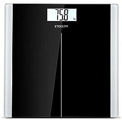 Etekcity Báscula de Baño Digital de Alta Medición Precisa 5kg-180kg, Balanza Digital Baño con Diseño Extraplano, Báscula Electrónica con LCD Retroiluminación, Negro