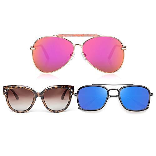 Grww ofd Sonnenbrille Frauen, 3 Teile/Satz Polarized Luxury Vintage Oversized Eye Wear Für Männer,C