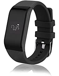 Diggro R1 - Pulsera Inteligente Reloj Smartwatch IP67 Impermeable Sport Cuenta Pasos, Podometro, Calorías, Distancia, Ritmo Cardiaco, Call/SMS, Recordatorio Sedentaria (Negro)