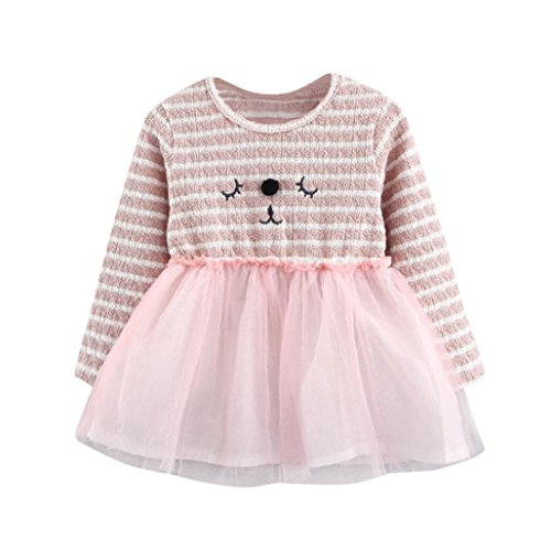 dchen Kleid Longra Blumenspitze Prinzessin Kleid Hochzeit Partykleid Taufkleid Tüll Festzug Baby Streifen Langarm Prinzessin Kleid (Pink, 80CM 12Monate) (Kostüm Shop Alte Straße)