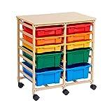 Ecr4kids bac de stockage mobile Organiseur, Sable avec couleurs assorties, 10-Tray, coloris assortis, 1