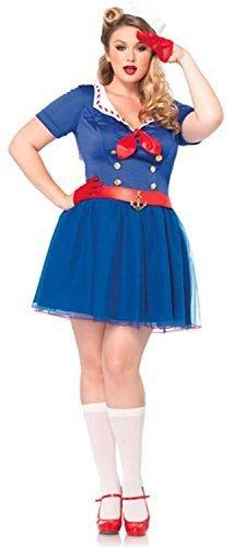autisch see Theme rot-weiß-blau Kostüm Kleid Outfit mit Hut Karneval UK 16-18 (Erwachsene Weiße Matrosen Kostüme)