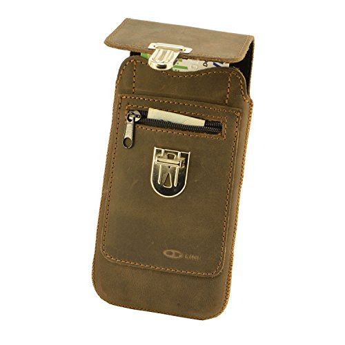 Orline Handy Tasche Echt Leder Apple Iphone 8 Plus Schutzhülle Gürteltasche Leder Hülle Etui Schalen Case Cover Leder Hülle Handarbeit Antik Braun