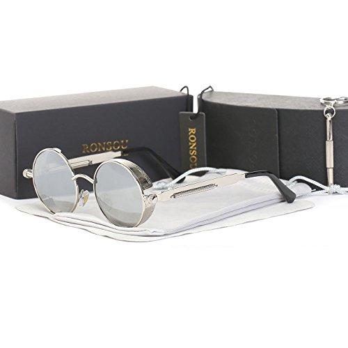 RONSOU Steampunk Stil Rund Vintage Polarisiert Sonnenbrillen Retro Brillen UV400 Schutz Metall Rahmen silber rahmen/silber linse