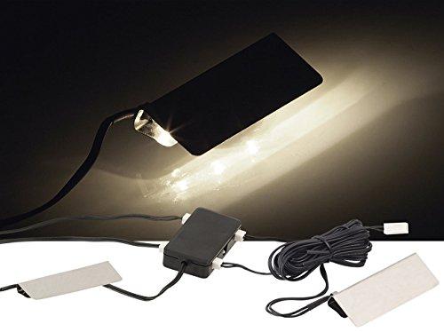 Lunartec Beleuchtung Glasboden: LED-Glasbodenbeleuchtung, 4 Klammern mit 12 tageslichtweißen LEDs (Glasboden LED Beleuchtung) -