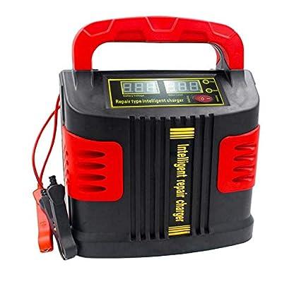 41XiZg2KV6L. SS416  - Huihuiya Cargador portátil Inteligente Coche del vehículo Vehículo de Motor 350W 14A Ajuste del Coche LCD Cargador de batería Coche Salto Arrancador Booster-Rojo y Negro