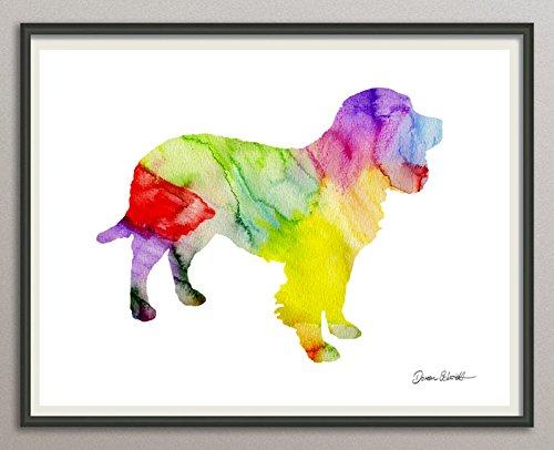 american water spaniel Rasse Hunde Hunderasse Fine Art Print Aquarell Silhouette Profil Poster Kunstdruck Plakat modern ungerahmt DIN A 4 Deko Wand Bild -
