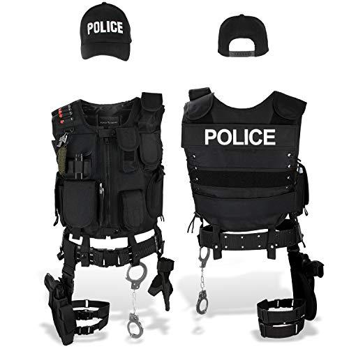 Black Snake SWAT FBI Police Security Kostüm inkl. Einsatzweste, Pistolenholster, Handschellen und Baseball Cap - M/L - Police