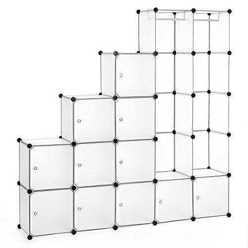 Songmics Kleiderschrank Garderobenschrank Mit 2 Kleiderstange Regalsystem 180 x 145 x 37 cm Weiß LPC30W