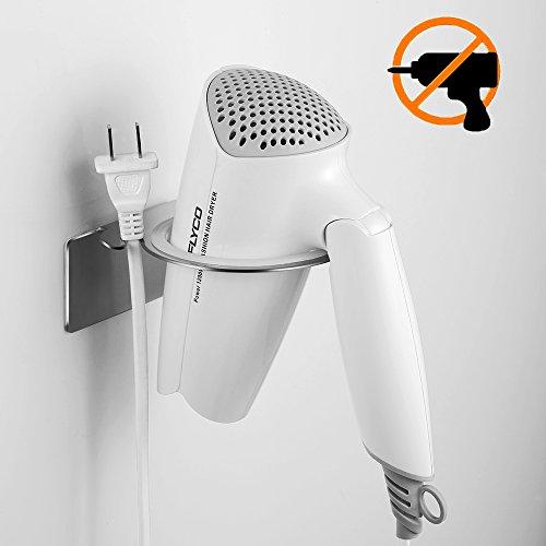 ecooe Haartrocknerhalter Ohne Bohren Edelstahl mit 3M Klebeband Selbstklebender Fönhalter mit Praktischem Kabelhalter ... (Haartrocknerhalter)