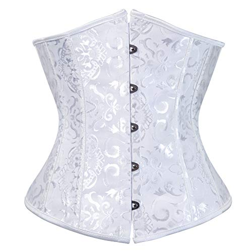 Damen Korsage Unterbrustkorsett Satin Corsage Tailenmieder Dessous (EUR(42-44) 3XL, Weiß)