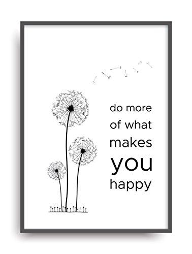 Fine Art Kunstdruck MAKE YOU HAPPY Poster Print Plakat moderne Vintage Deko Bild DIN A4 Geschenk