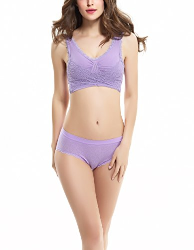 COCO TOE® Damen Lace Bralette Soft Tops Bustier BH Ungepolsterte Cups Purple