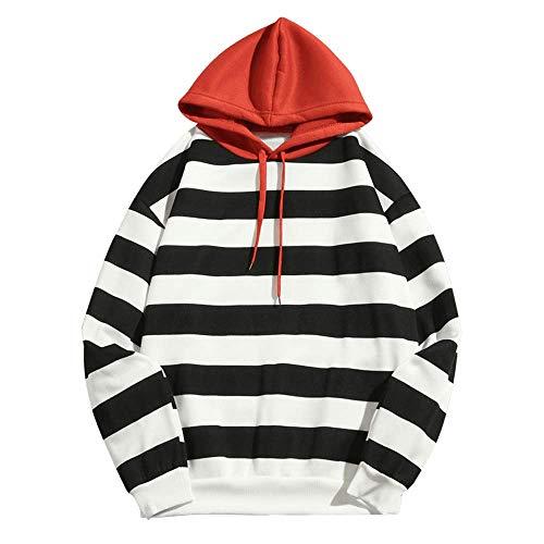 ZAFUL Männer Casual Hoodie Gestreifter Print Fleece Langarm Lose Pullover Sweatshirt (XL, SCHWARZ) Fleece-print-sweatshirt