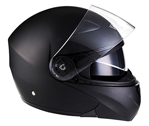 MOTO F19 Matt Black · Moto Scooter Modular-Helmet Cruiser Flip-Up Casco da...