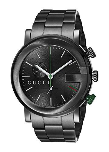 Gucci  YA101331 - Reloj de cuarzo para hombre, con correa de acero inoxidable, color negro