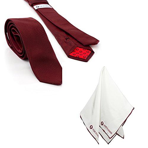 VON FLOERKE Hochwertige Krawatte mit Einstecktuch im Set 100% Seide – 7,5cm breit – bordeauxrot-weiß – Business Krawattenset für Anzug – Herren Schlips und Einstecktuch – Geschenk-Set für - Dinner-jacket Männer Weiße Die