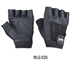 WEIGHT LIFTING PADDED LEATHER GLOVES - W035 - FITNESS TRAINING BODY BUILDING GYM SPORTS & WHEEL CHAIR USE SIZE (SMALL)