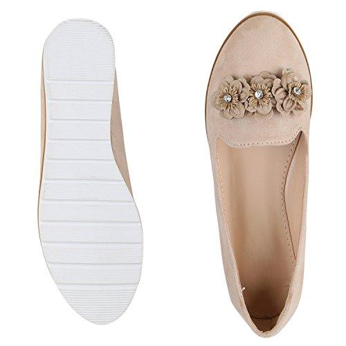 napoli-fashion Bequeme Damen Slippers Tassel Loafer Lack Metallic Schuhe Quasten Profilsohle Flats Blumen Glitzer Freizeitschuhe Jennika Creme Blume