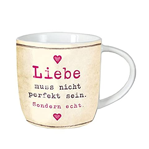 Grafik Werkstatt 60571 Kaffee-Tasse mit Spruch, Liebe muss nicht perfekt sein, spülmaschinengeeignet, Porzellan, elfenbein, 12.5 x 9.5 x 8.5 cm