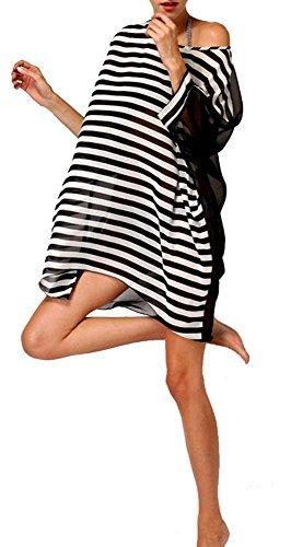Vobaga Abito da spiaggia copricostume,da donna,in chiffon,per costume da bagno,grande,Hit di colori a strisce Nero a bianco strisce