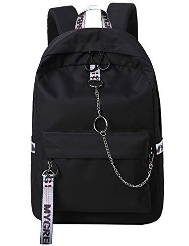 Mygreen Backpack Rucksack Schulrucksack rucksäcke mit Laptopfach für Camping Outdoor Sport Schwarz&Grau -