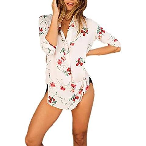 Tongshi Muchacha de las mujeres ocasionales flojas de la blusa de impresión Camiseta Tee tops de manga larga