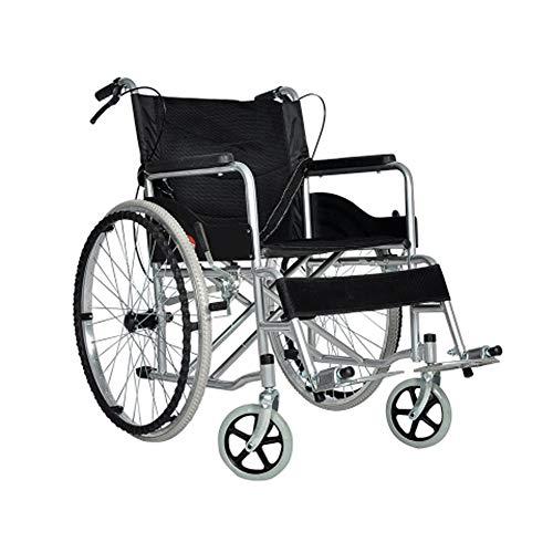 GSS-Rollstühle Extra Gepolsterter Sitz Zusammenklappbarer Rollstuhl Mit Eigenantrieb Abnehmbare Fußstützen Pannensicher Mit Armlehne Und Tragbar (Color : Black)