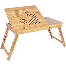 Songmics Mesa auxiliar de bambú para ordenador portátiles con ventilador 55 x 35 cm LLD003