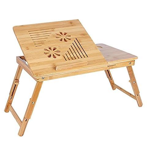 Songmics Table de lit Pliable en Bambou pour PC Ordinateur avec Refroidisseur Ventilateurs LLD003