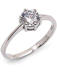 Silvity Damen 925 Silber Verlobungsring Ring Silber 111111-20