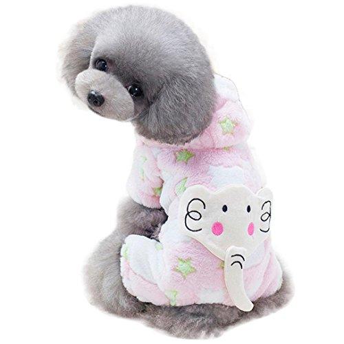 Igemy Hundekleidung Netter Elefant Winter Warm Gepolsterte Verdickung Mantel Hund Kostüme (L, Rosa)