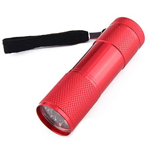 UV-LED-Taschenlampe, 2 Stück, tragbare UV-Taschenlampe, 9 LEDs, UV-Taschenlampe mit Rückseil, für Haustier-Urin-Detektor, Flecken auf Kleidung, Fußboden, Teppichen und authentische Geldmarkierung, rot
