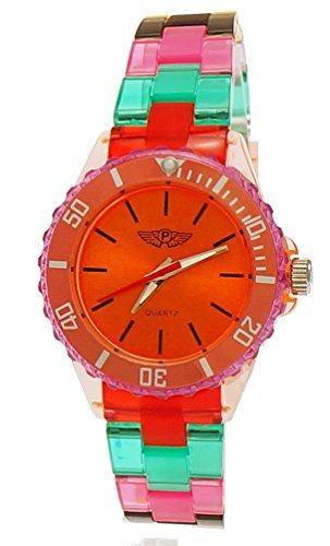 Coole NY London Rainbow Kunstoff Uhr bunte Kunststoff Damen Armbanduhr Damenuhr Kinderuhr Jungen/Mädchen Armband Uhr Rot Lila Türkis inkl Uhrenbox