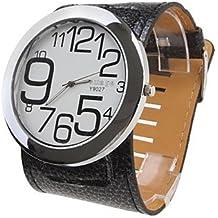 Reloj Pulsera Quartz de Con Diseño de Originales Números y Correa en PU Ancha- Negro