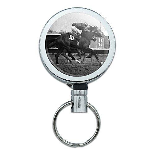 Retractable Reel Gürtelclip ID Badge Schlüsselhalter Glücksspiel Track Karten Poker At the Track Horse Racing Vintage