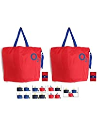 [Sponsored]Shopping Bags Reusable Grocery Bag O2 Set Of 2 Foldable Polyester Tote Long Handles Washable Large Size Heavy...