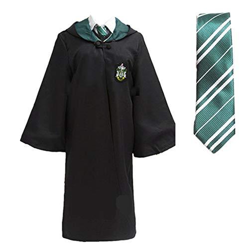 LOVCRY Halloween Umhang Karneval Kostüm Cosplay Zauberei Cape mit Krawatte (Grün, S) (Harry Robe Slytherin Potter)