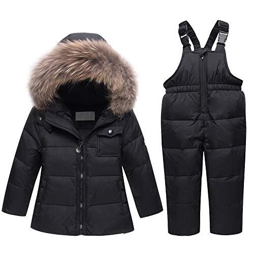 LSERVER Kinder Daunenjacke Warme Baby Winterkleidung, Schwarz, 104/110(Fabrikgröße: 110)