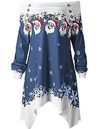 MYMYG Frauen Frohe Weihnachten Weihnachtsmann Printed Off Schulter Sweatshirt Top Plus Größe Snowflake Printed Tops Schulterfrei Asymmetrische Zipper Dots Print Tops Mit Kapuze