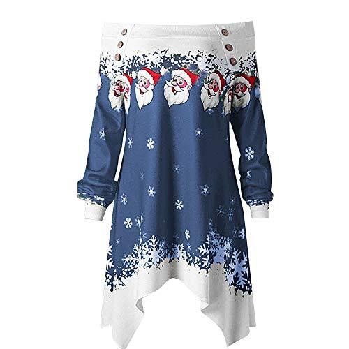 MRULIC Sweatshirt Trägerlose Tunika Blusen Damen Weihnachten Skew Neck Schneeflocke Druck Tops Bluse Festliches Kostüm (EU-34/CN-S, - Express Kostüm Coupons