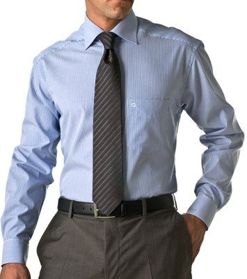 Herren Hemd Luxor Comfort Fit Langarm,S6 mittelblaue Streifen,Gr. 46 (Fit-blauer Streifen)