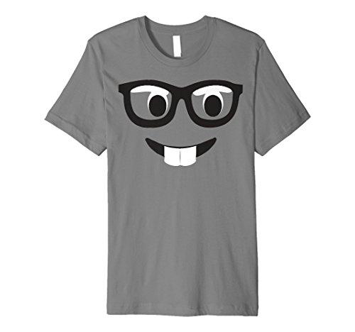 Emoji-Shirt Kostüm Buck Zähne Emoji-Nerd Gesicht mit Brille