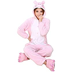 OCHENTA Animal Carnaval Disfraz Cosplay Pijamas Adultos Unisex Ropa De Noche pink pig L(talla 165-172cm)