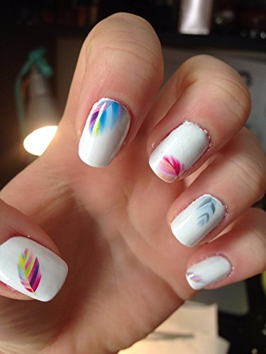 multicolour feather nail sticker
