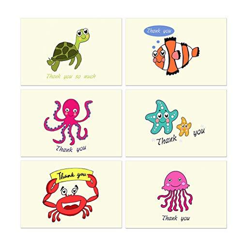 Vosarea 48pcs danken Ihnen, Karten Marinetier-Dankes-Karte mit Umschlag-Papiergrußkarte für Partei-Staffelungs-Babyparty zu merken