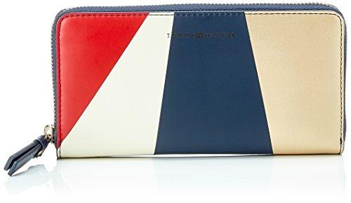 Metallic Pu-geldbeutel-handtasche (Tommy Hilfiger Damen Th Effortless Lrg Za Wlt Geo Mtllc Taschenorganizer, Blau (Geo Metallic), 3x10x19 cm)