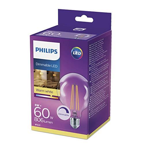 Philips Lighting Bombilla LED Globo de filamento casquillo E27, 8 W equivalentes a 60 W, luz blanca cálida, 806 lúmenes