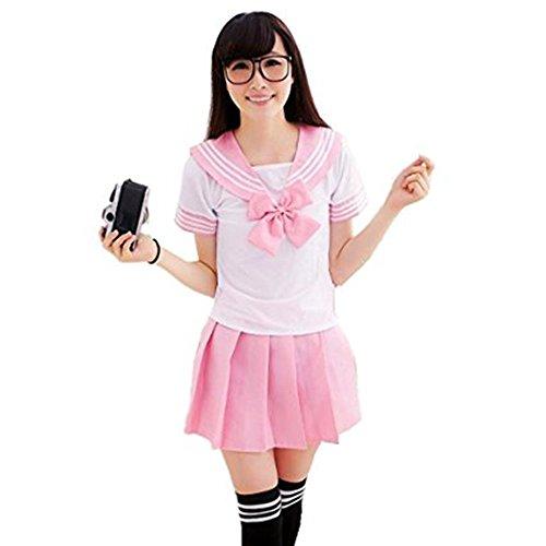 Sexy Kostüm Anime - OAMORE Schuluniform Schulmädchen Kostüm Sexy Lingerie Damen Anime Cosplay School Uniform Fasching Costume für Erwachsene (M, Pink)